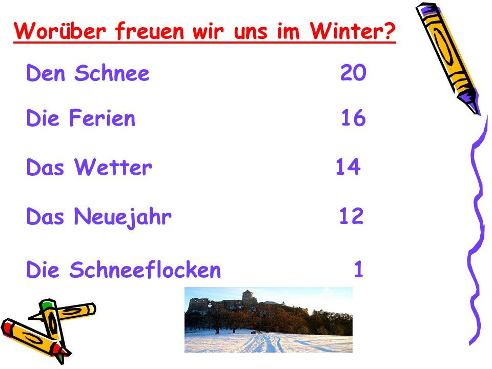 Worüber freuen wir uns im Winter? Den Schnee 20 Die Ferien 16 Das Wetter 14 Das Neuejahr 12 Die Schneeflocken 1