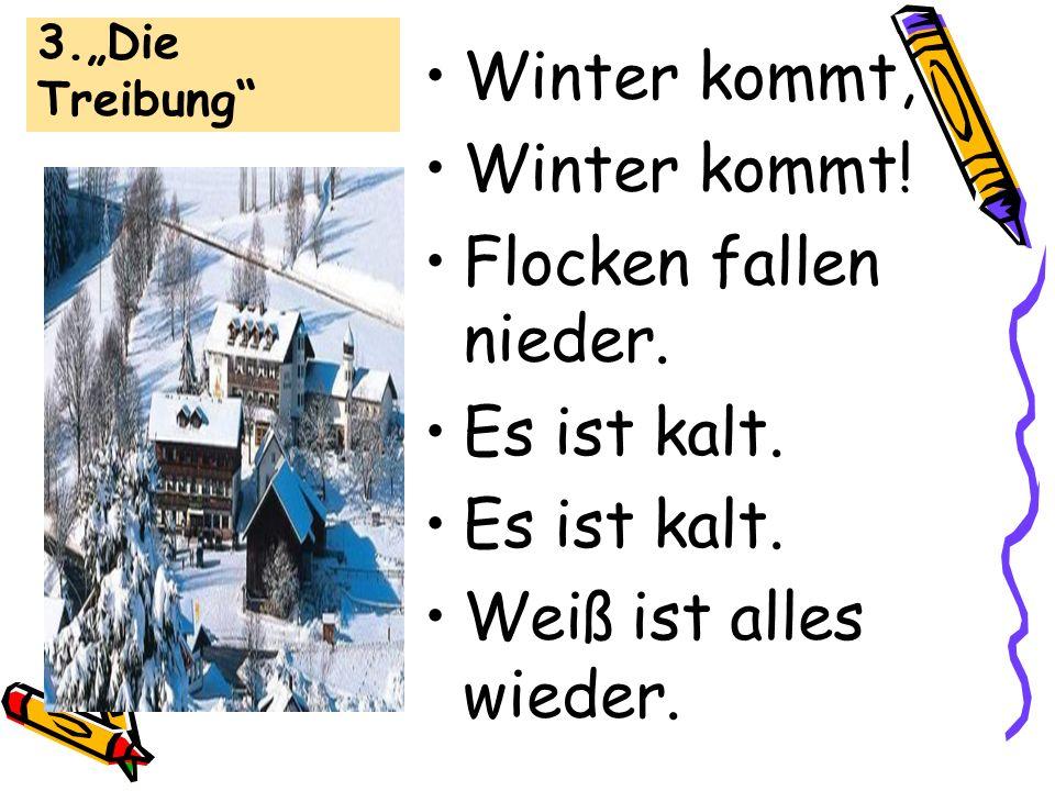 3.Die Treibung Winter kommt, Winter kommt! Flocken fallen nieder. Es ist kalt. Weiß ist alles wieder.