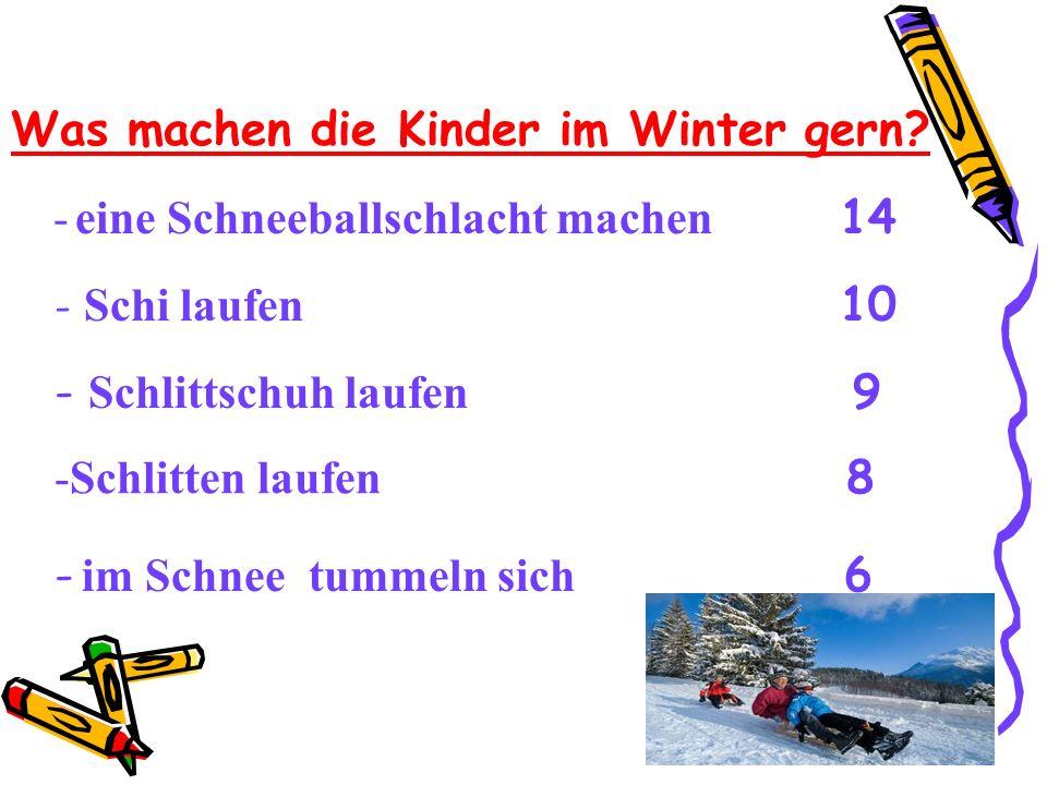 Was machen die Kinder im Winter gern? - Schi laufen 10 - Schlittschuh laufen 9 -Schlitten laufen 8 - eine Schneeballschlacht machen 14 - im Schnee tum
