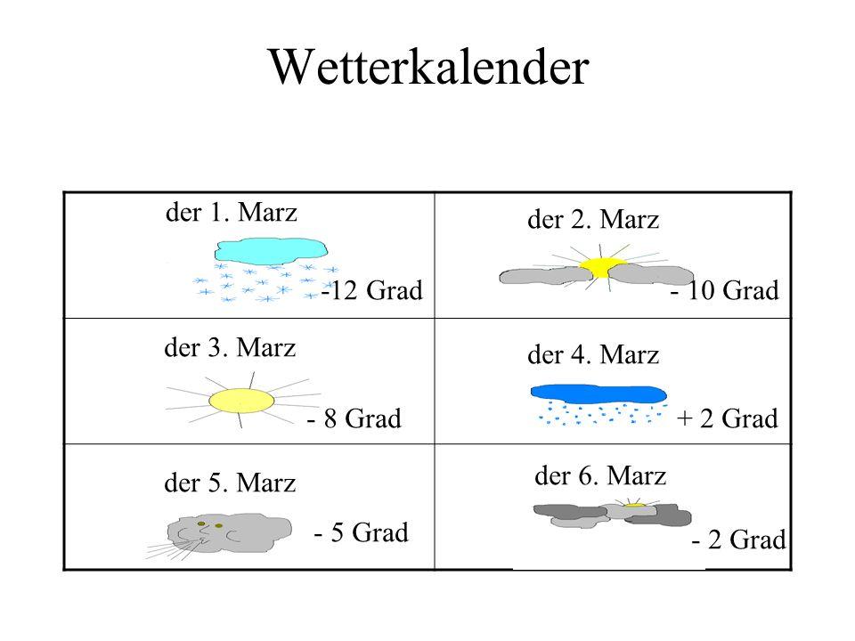 Wetterkalender der 1. Marz der 2. Marz der 3. Marz der 4. Marz der 5. Marz der 6. Marz -12 Grad - 10 Grad - 8 Grad+ 2 Grad - 5 Grad - 2 Grad