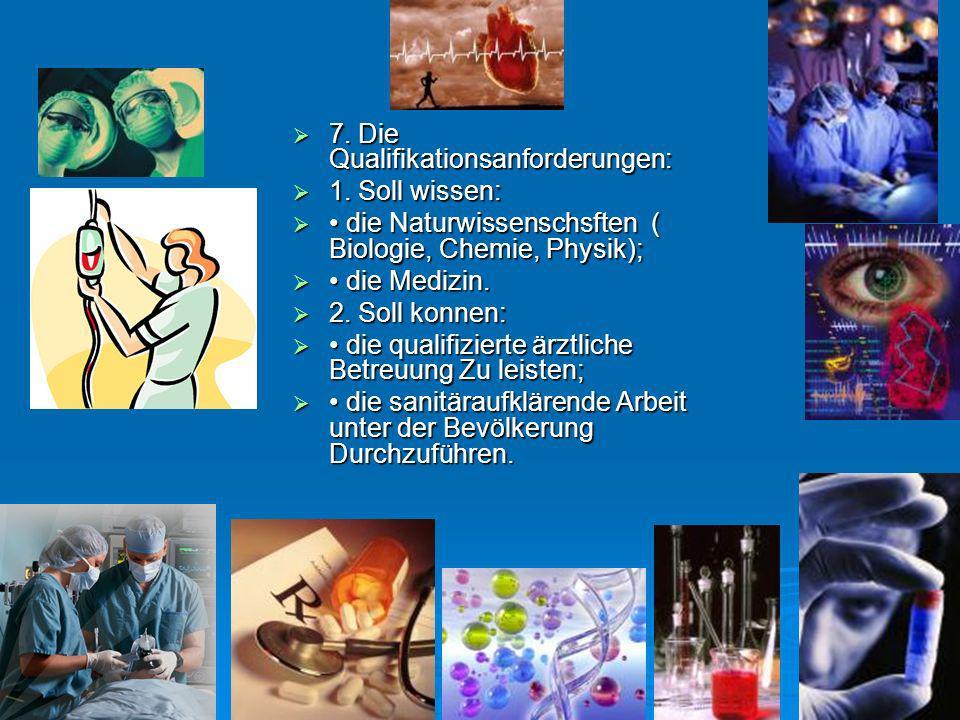 7. Die Qualifikationsanforderungen: 7. Die Qualifikationsanforderungen: 1. Soll wissen: 1. Soll wissen: die Naturwissenschsften ( Biologie, Chemie, Ph