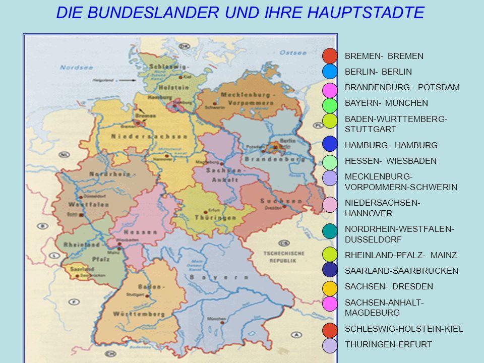 1.BREMEN- BREMEN 2.BERLIN- BERLIN 3.BRANDENBURG- POTSDAM 4.BAYERN- MUNCHEN 5.BADEN-WURTTEMBERG- STUTTGART 6.HAMBURG- HAMBURG 7.HESSEN- WIESBADEN 8.MEC