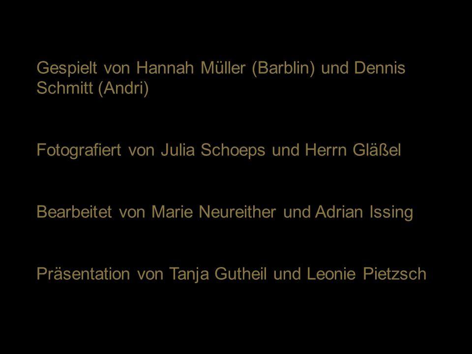 Gespielt von Hannah Müller (Barblin) und Dennis Schmitt (Andri) Fotografiert von Julia Schoeps und Herrn Gläßel Bearbeitet von Marie Neureither und Ad