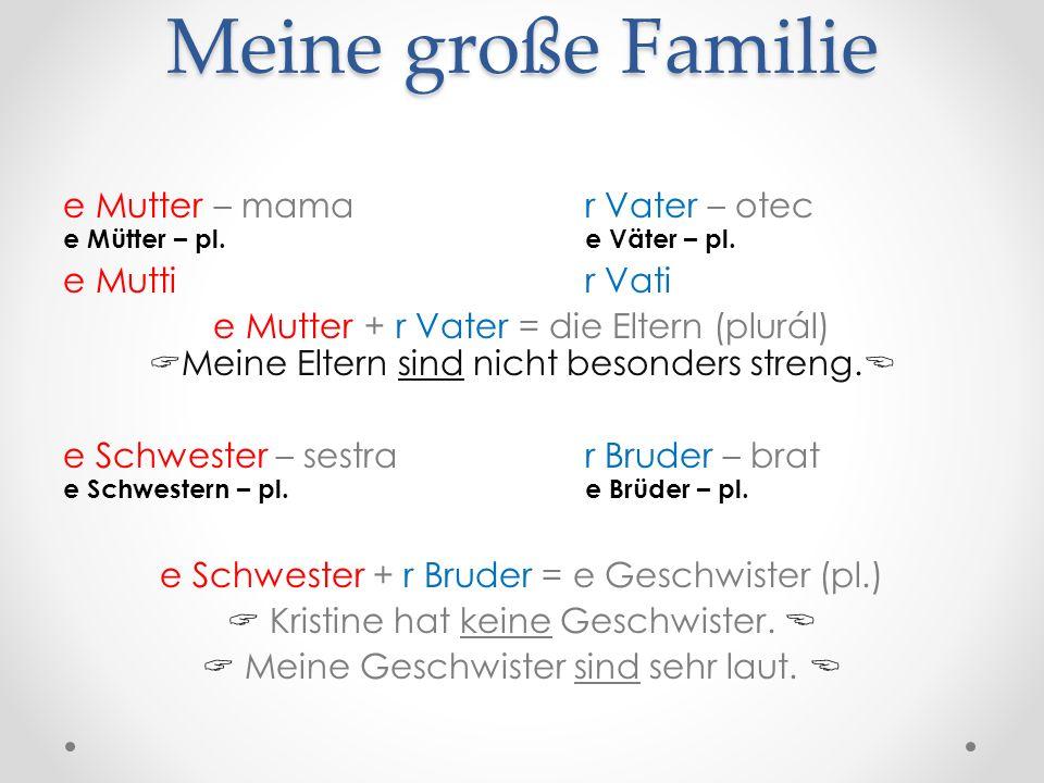 e Großmutter – stará mama, babka e Großmutter = e Oma r Großvater – starý otec, dedko r Großvater = r Opa e Großmutter + r Großvater = e Großeltern (pl.) Meine Großeltern wohnen in Deutschland.