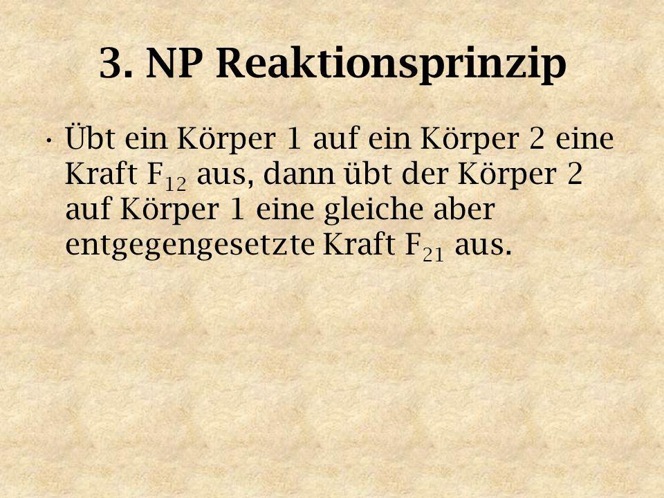 3. NP Reaktionsprinzip Übt ein Körper 1 auf ein Körper 2 eine Kraft F 12 aus, dann übt der Körper 2 auf Körper 1 eine gleiche aber entgegengesetzte Kr
