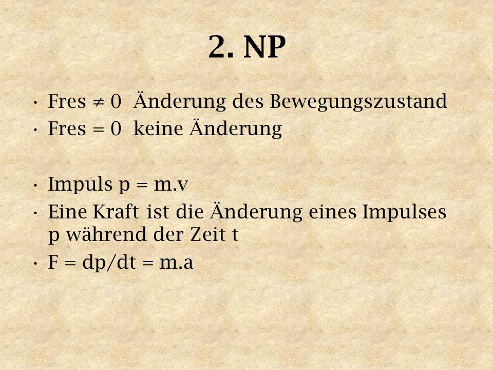 2. NP Fres 0 Änderung des Bewegungszustand Fres = 0 keine Änderung Impuls p = m.v Eine Kraft ist die Änderung eines Impulses p während der Zeit t F =