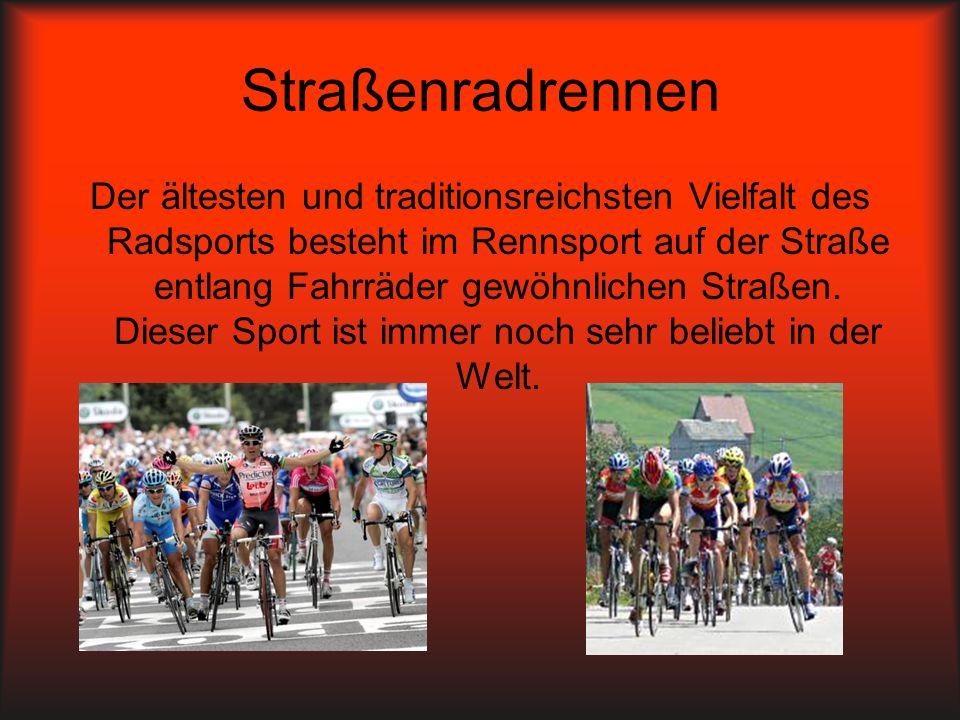 Straßenradrennen Der ältesten und traditionsreichsten Vielfalt des Radsports besteht im Rennsport auf der Straße entlang Fahrräder gewöhnlichen Straße