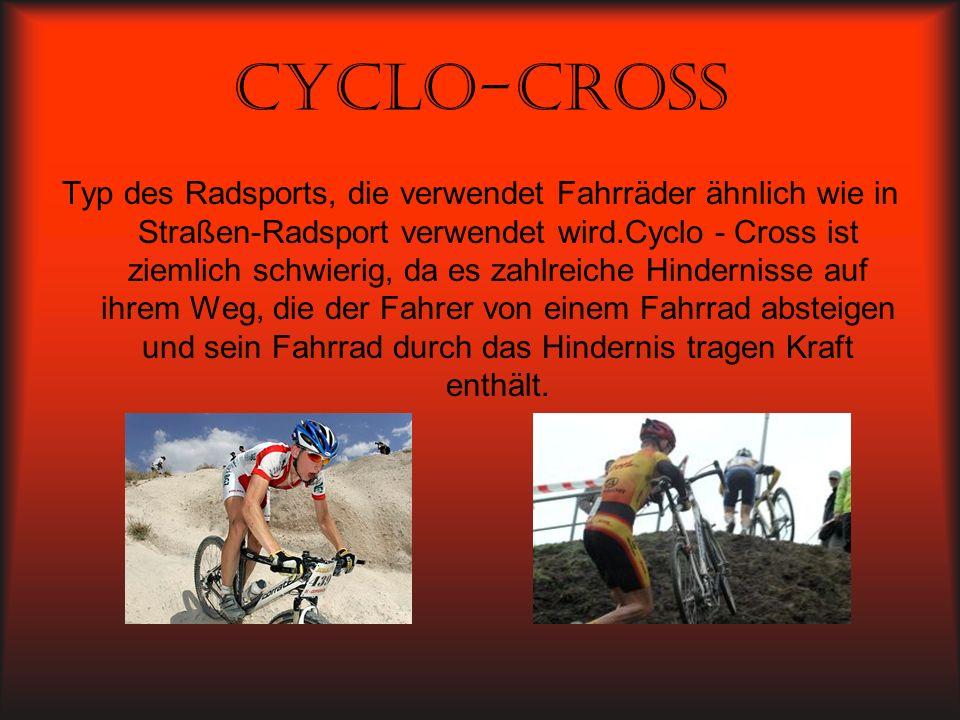 Cyclo-cross Typ des Radsports, die verwendet Fahrräder ähnlich wie in Straßen-Radsport verwendet wird.Cyclo - Cross ist ziemlich schwierig, da es zahl