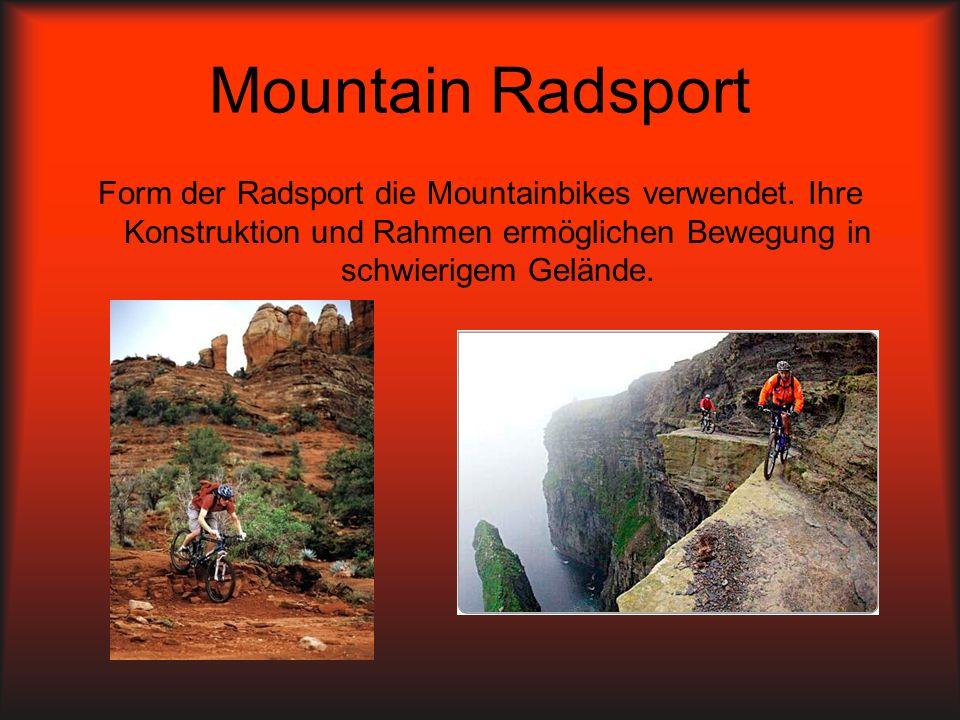 Mountain Radsport Form der Radsport die Mountainbikes verwendet. Ihre Konstruktion und Rahmen ermöglichen Bewegung in schwierigem Gelände.