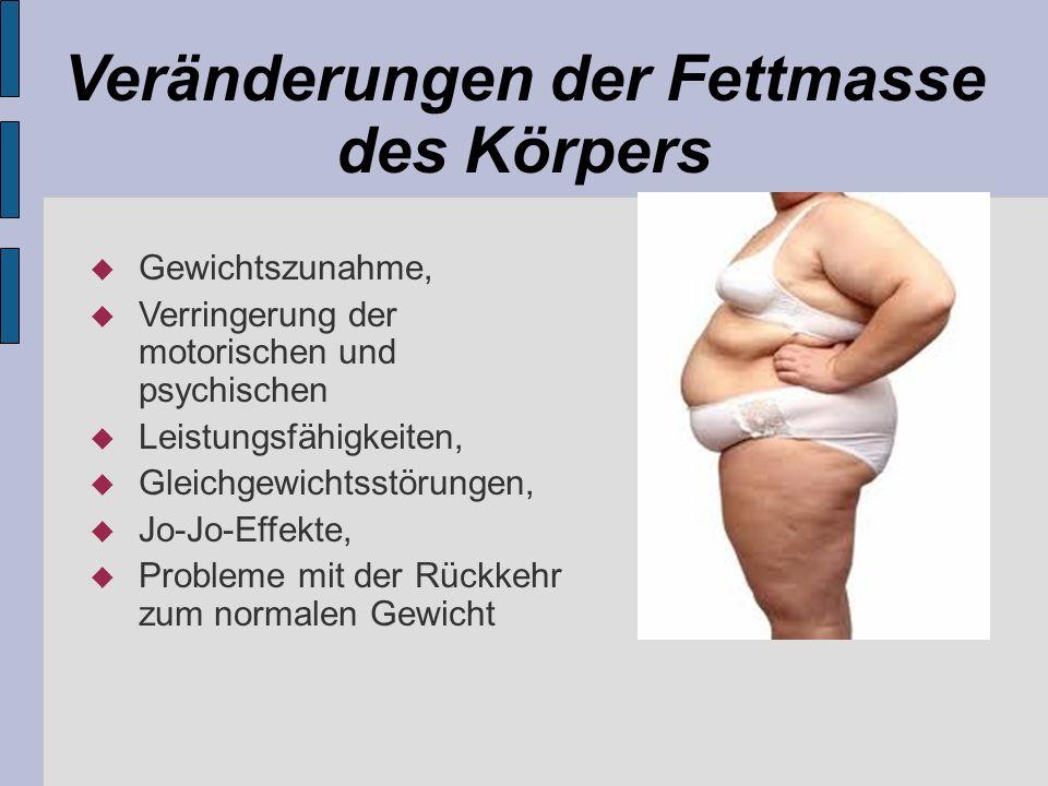 Veränderungen der Fettmasse des Körpers Gewichtszunahme, Verringerung der motorischen und psychischen Leistungsfähigkeiten, Gleichgewichtsstörungen, J