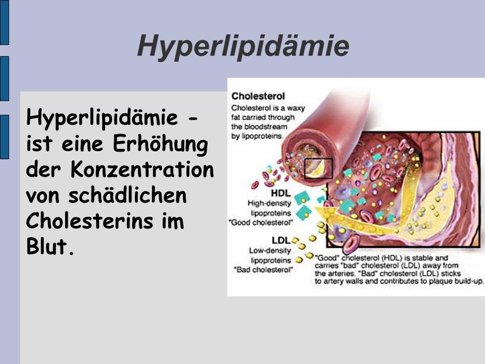 Hyperlipidämie Hyperlipidämie - ist eine Erhöhung der Konzentration von schädlichen Cholesterins im Blut.