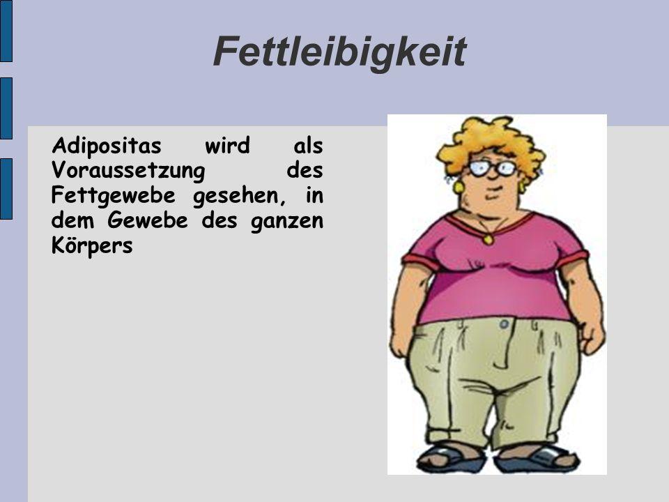 Fettleibigkeit Adipositas wird als Voraussetzung des Fettgewebe gesehen, in dem Gewebe des ganzen Körpers