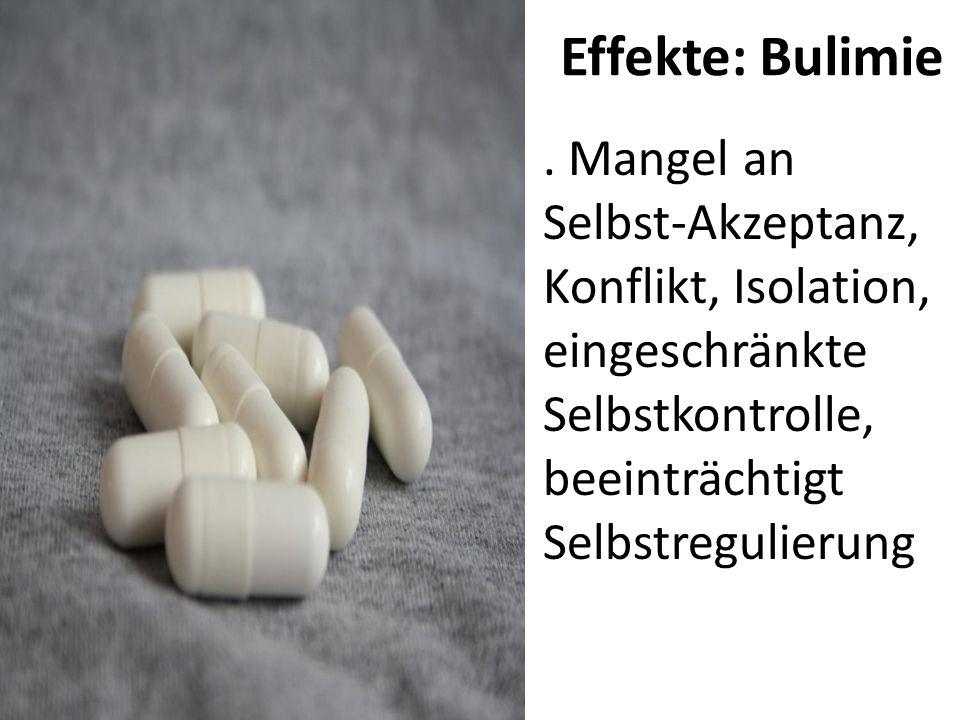Effekte: Bulimie. Mangel an Selbst-Akzeptanz, Konflikt, Isolation, eingeschränkte Selbstkontrolle, beeinträchtigt Selbstregulierung