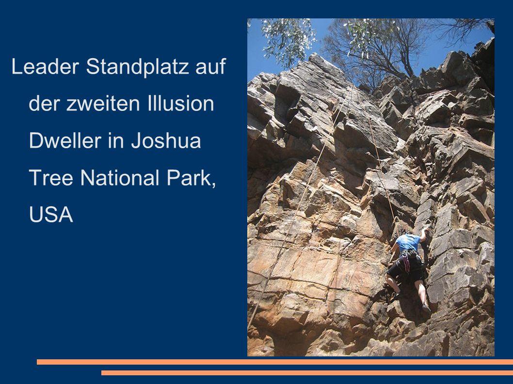 Leader Standplatz auf der zweiten Illusion Dweller in Joshua Tree National Park, USA