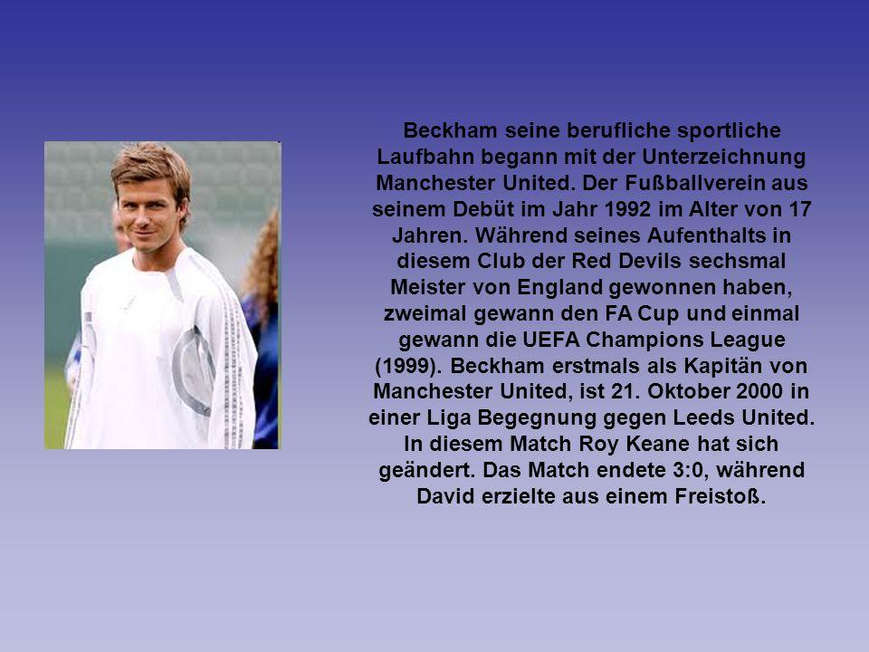 Beckham seine berufliche sportliche Laufbahn begann mit der Unterzeichnung Manchester United. Der Fußballverein aus seinem Debüt im Jahr 1992 im Alter