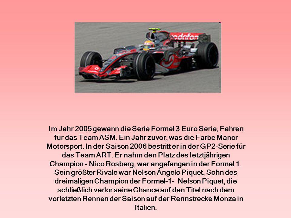 Dank einer sehr guten Einstellung in der GP2-Rennen in der Saison 2007 sicherte der Formel 1.