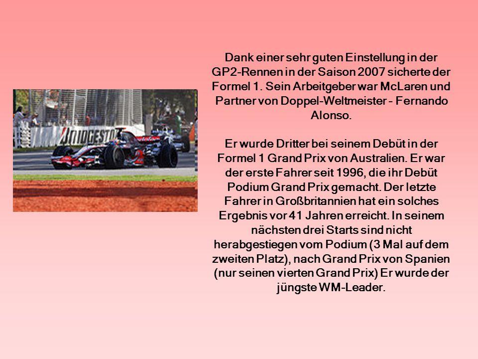 Im sechsten Rennen in der Formel 1 (Grand Prix von Kanada), überquerte er die Ziellinie als Erster.