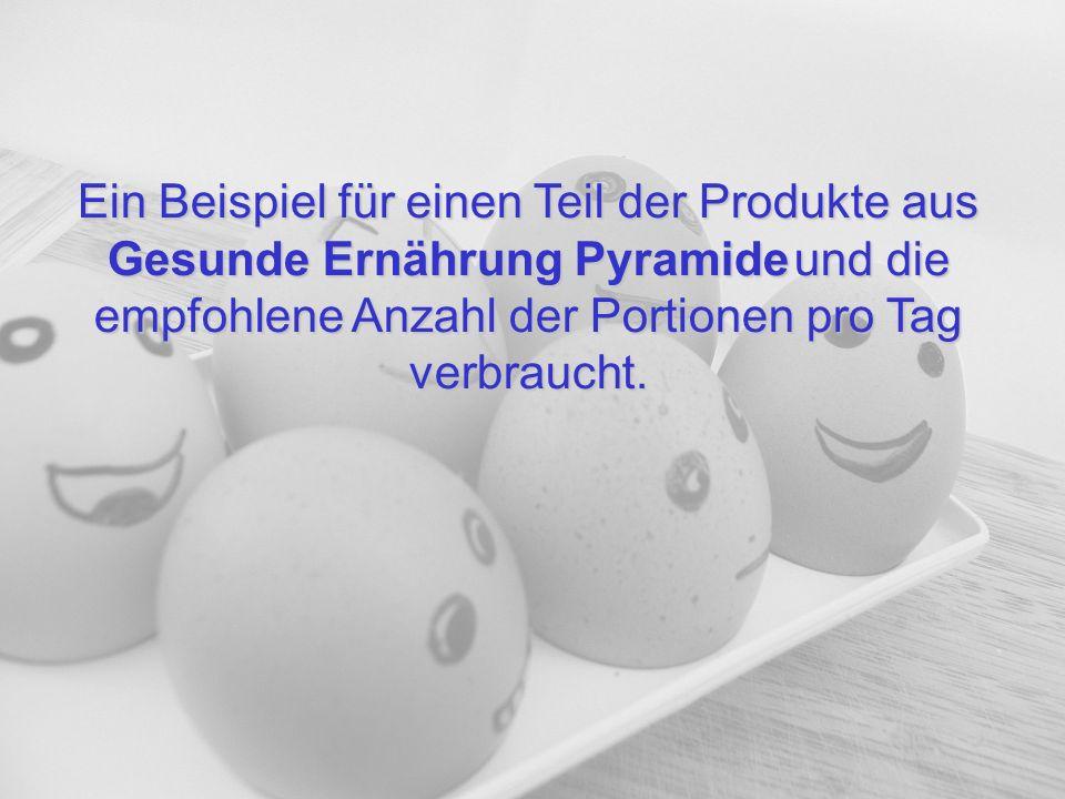 Ein Beispiel für einen Teil der Produkte aus Gesunde Ernährung Pyramideund die empfohlene Anzahl der Portionen pro Tag verbraucht. Ein Beispiel für ei