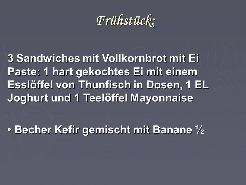 Frühstück: 3 Sandwiches mit Vollkornbrot mit Ei Paste: 1 hart gekochtes Ei mit einem Esslöffel von Thunfisch in Dosen, 1 EL Joghurt und 1 Teelöffel Ma