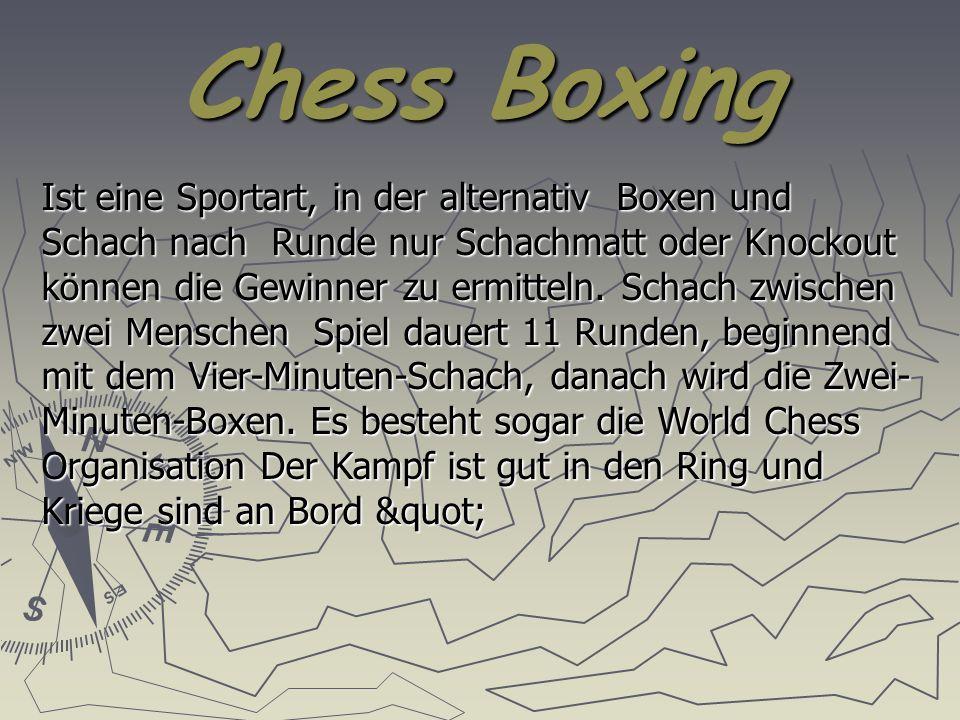 Chess Boxing Ist eine Sportart, in der alternativ Boxen und Schach nach Runde nur Schachmatt oder Knockout können die Gewinner zu ermitteln.