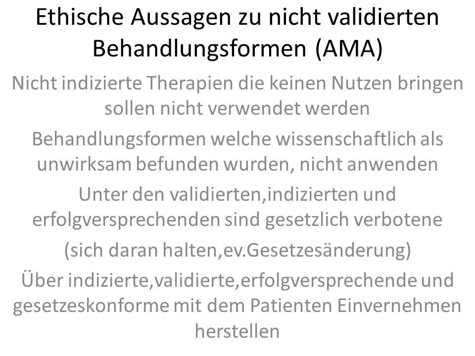 Ethische Aussagen zu nicht validierten Behandlungsformen (AMA) Nicht indizierte Therapien die keinen Nutzen bringen sollen nicht verwendet werden Beha