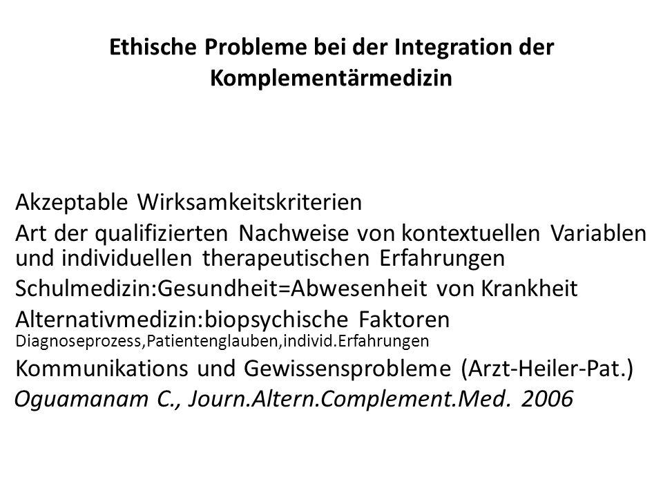Ethische Probleme bei der Integration der Komplementärmedizin Akzeptable Wirksamkeitskriterien Art der qualifizierten Nachweise von kontextuellen Vari