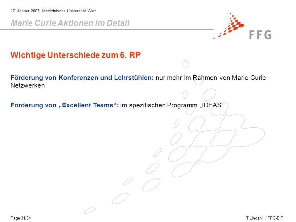 T.Lindahl / FFG-EIP 17.Jänner 2007, Medizinische Universität Wien Page 32/34 Wann geht´s los.