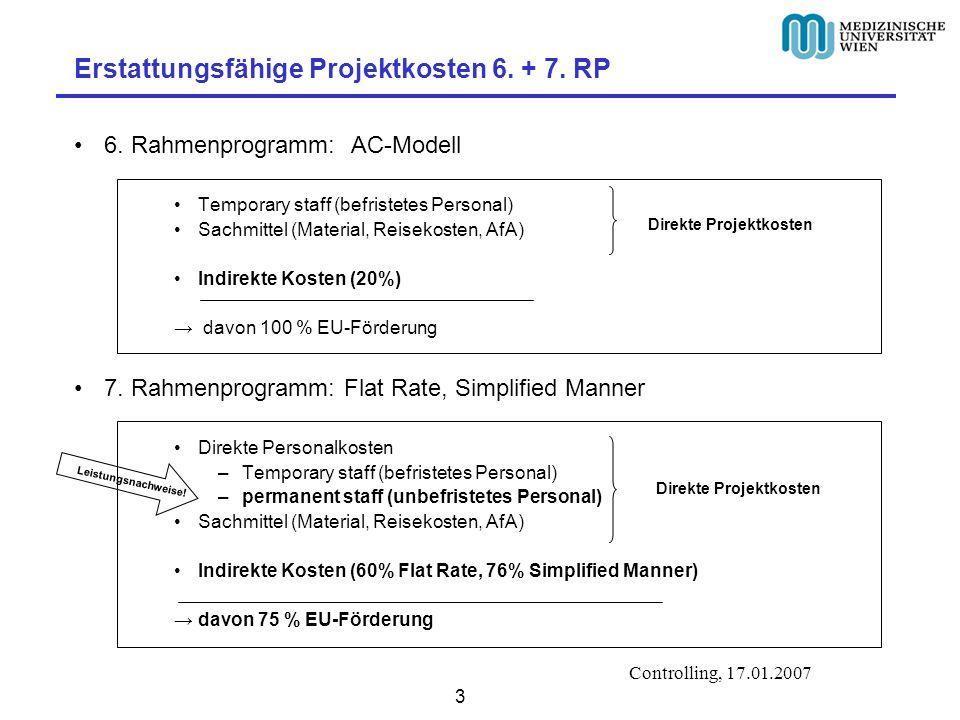 Controlling, 17.01.2007 4 Beispiel 6.EU- Rahmenprogramm 7.