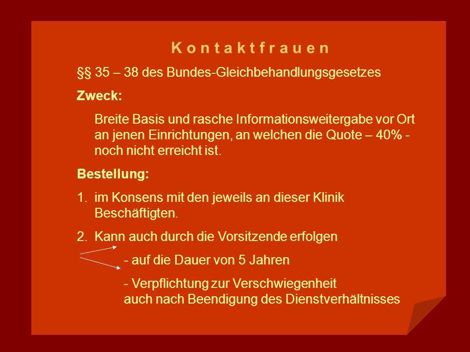 K o n t a k t f r a u e n §§ 35 – 38 des Bundes-Gleichbehandlungsgesetzes Zweck: Breite Basis und rasche Informationsweitergabe vor Ort an jenen Einri