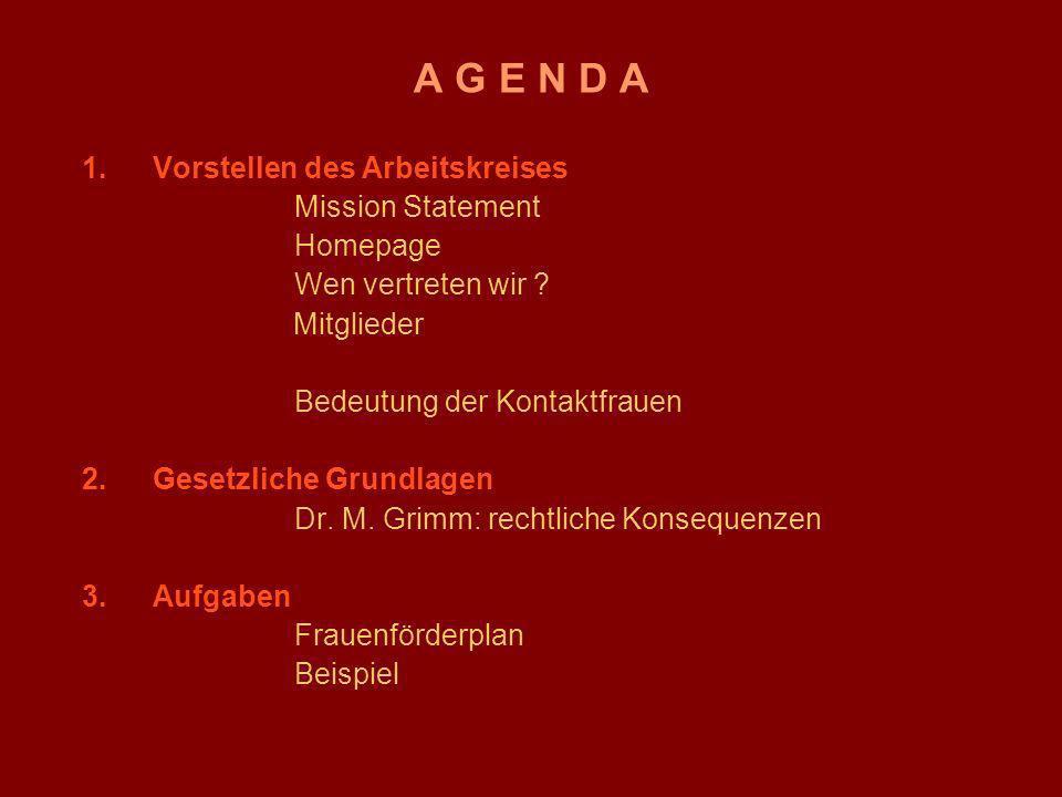 Themen des Frauenförderplanes A.Allgemeine Bestimmungen (§ 1 – 6) B.