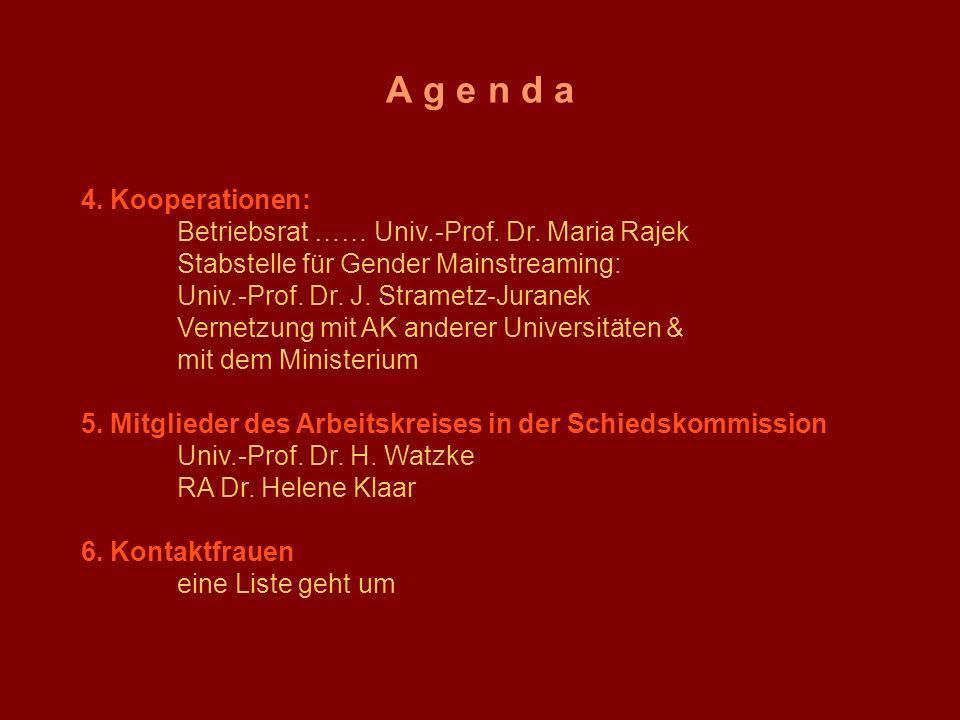 A g e n d a 4. Kooperationen: Betriebsrat …… Univ.-Prof. Dr. Maria Rajek Stabstelle für Gender Mainstreaming: Univ.-Prof. Dr. J. Strametz-Juranek Vern