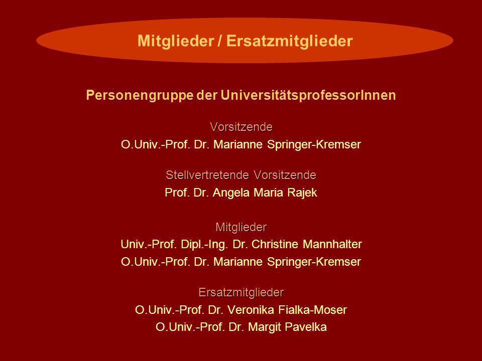 Personengruppe der UniversitätsprofessorInnenVorsitzende O.Univ.-Prof. Dr. Marianne Springer-Kremser Stellvertretende Vorsitzende Prof. Dr. Angela Mar