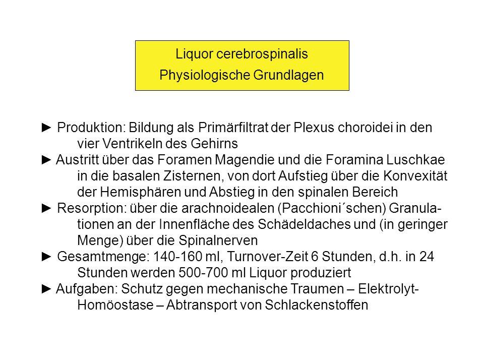 Liquor cerebrospinalis Physiologische Grundlagen Produktion: Bildung als Primärfiltrat der Plexus choroidei in den vier Ventrikeln des Gehirns Austrit