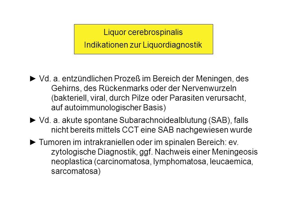 Liquor cerebrospinalis Indikationen zur Liquordiagnostik Vd. a. entzündlichen Prozeß im Bereich der Meningen, des Gehirns, des Rückenmarks oder der Ne