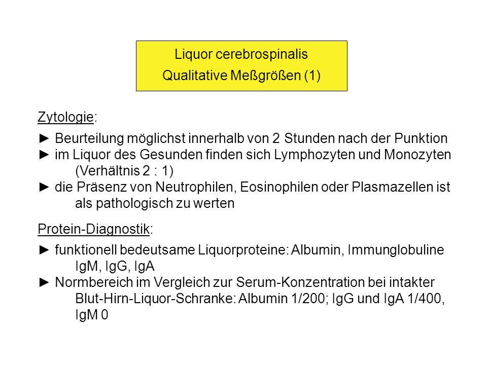 Liquor cerebrospinalis Qualitative Meßgrößen (1) Zytologie: Beurteilung möglichst innerhalb von 2 Stunden nach der Punktion im Liquor des Gesunden fin