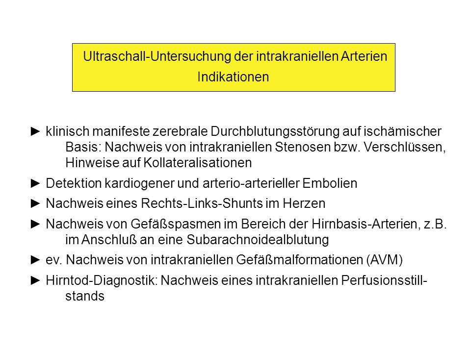 Ultraschall-Untersuchung der intrakraniellen Arterien Emboliedetektion, Nachweis eines R-L-Shunts Beschallung der A.