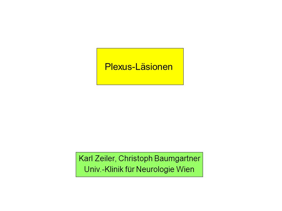 Karl Zeiler, Christoph Baumgartner Univ.-Klinik für Neurologie Wien Plexus-Läsionen