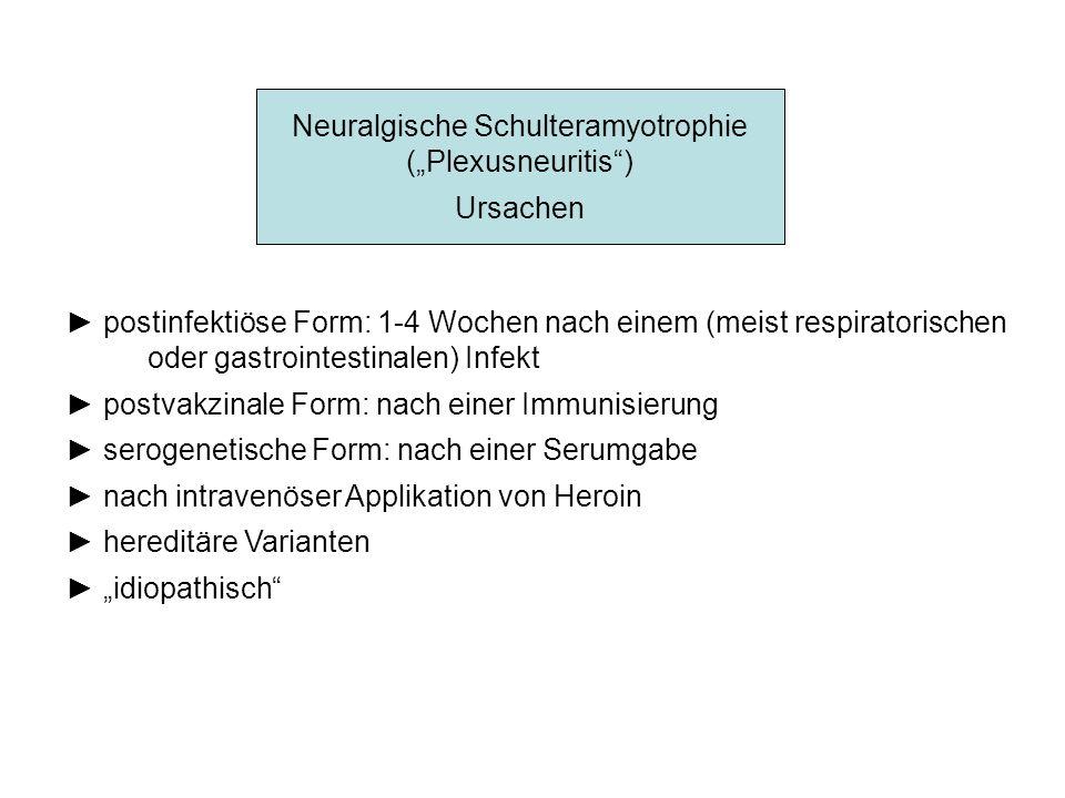 Neuralgische Schulteramyotrophie (Plexusneuritis) Ursachen postinfektiöse Form: 1-4 Wochen nach einem (meist respiratorischen oder gastrointestinalen)