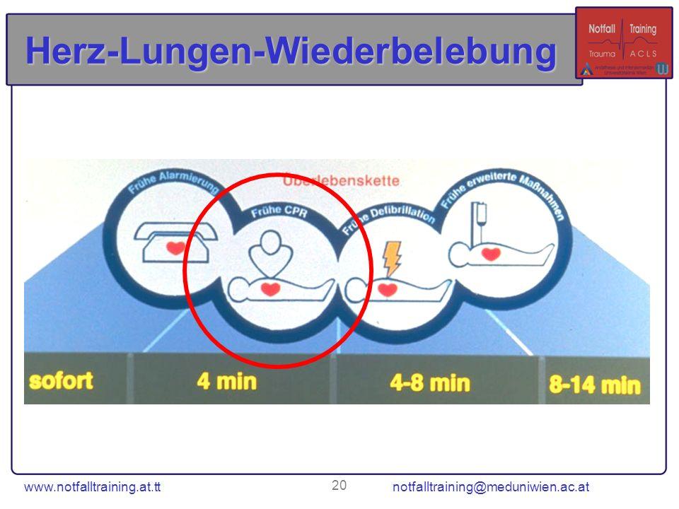 www.notfalltraining.at.tt notfalltraining@meduniwien.ac.at 20 Herz-Lungen-Wiederbelebung