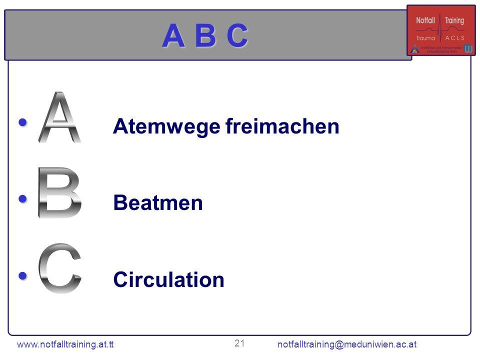 www.notfalltraining.at.tt notfalltraining@meduniwien.ac.at 21 A B C Atemwege freimachen Beatmen Circulation