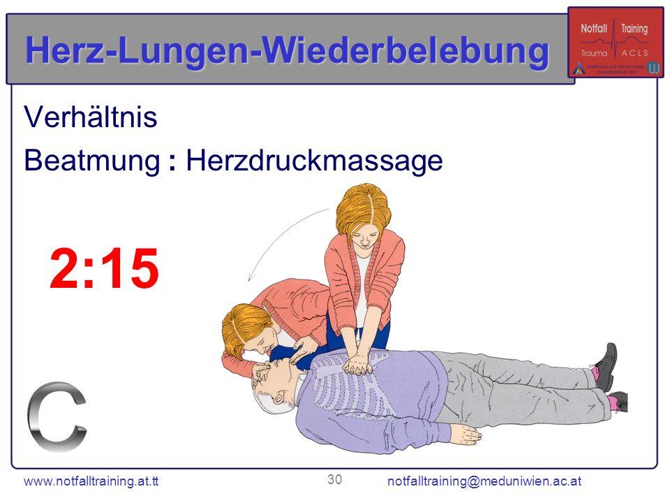 www.notfalltraining.at.tt notfalltraining@meduniwien.ac.at 30 Herz-Lungen-Wiederbelebung Verhältnis Beatmung : Herzdruckmassage 2:15