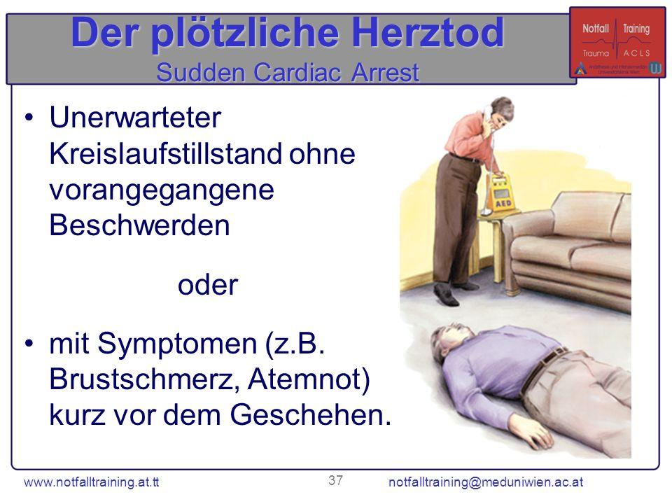 www.notfalltraining.at.tt notfalltraining@meduniwien.ac.at 37 Der plötzliche Herztod Sudden Cardiac Arrest Unerwarteter Kreislaufstillstand ohne voran