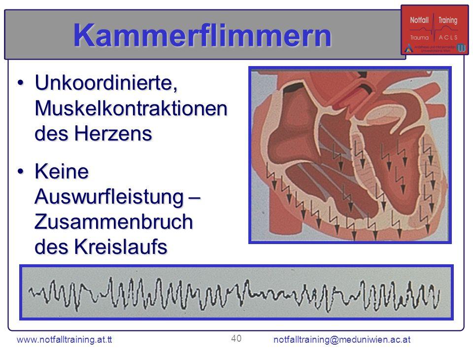 www.notfalltraining.at.tt notfalltraining@meduniwien.ac.at 40 Kammerflimmern Unkoordinierte, Muskelkontraktionen des HerzensUnkoordinierte, Muskelkont