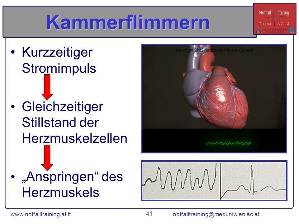 www.notfalltraining.at.tt notfalltraining@meduniwien.ac.at 41 Kammerflimmern Kurzzeitiger Stromimpuls Gleichzeitiger Stillstand der Herzmuskelzellen A