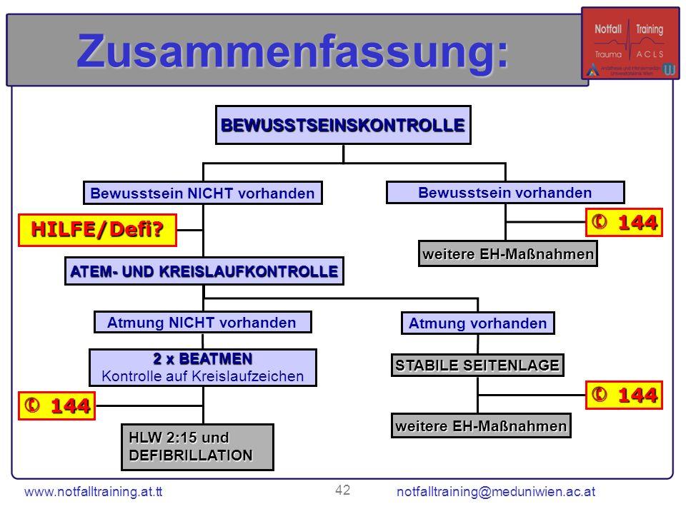 www.notfalltraining.at.tt notfalltraining@meduniwien.ac.at 42 Zusammenfassung: BEWUSSTSEINSKONTROLLE Bewusstsein NICHT vorhanden Bewusstsein vorhanden