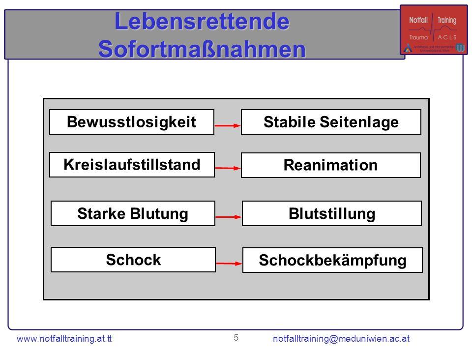 5 Lebensrettende Sofortmaßnahmen Starke BlutungBlutstillung Bewusstlosigkeit Stabile Seitenlage Kreislaufstillstand Reanimation Schock Schockbekämpfun