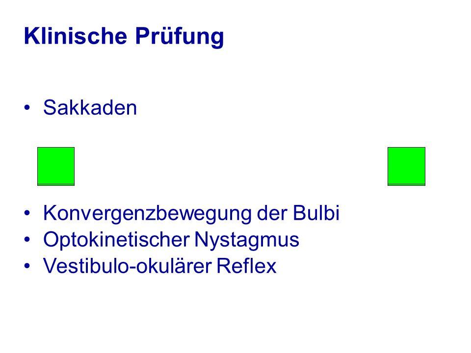 Klinische Prüfung Sakkaden Konvergenzbewegung der Bulbi Optokinetischer Nystagmus Vestibulo-okulärer Reflex