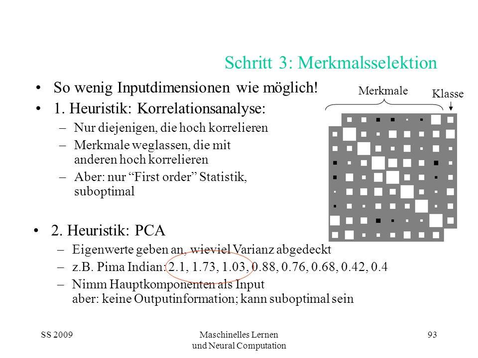 SS 2009Maschinelles Lernen und Neural Computation 93 Schritt 3: Merkmalsselektion So wenig Inputdimensionen wie möglich! 1. Heuristik: Korrelationsana