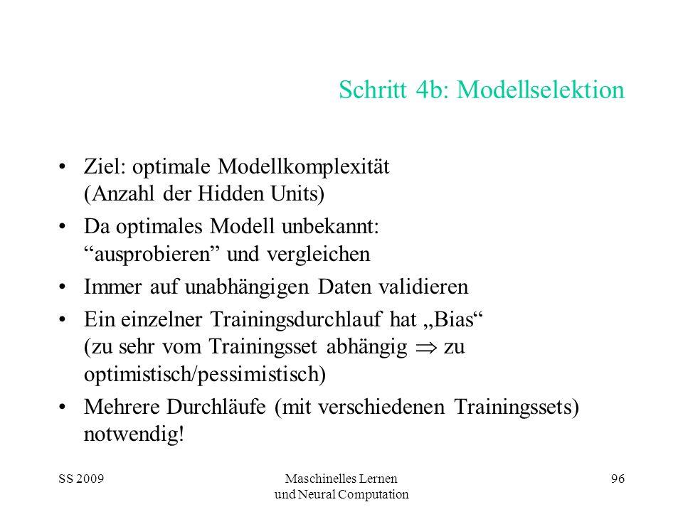 SS 2009Maschinelles Lernen und Neural Computation 96 Schritt 4b: Modellselektion Ziel: optimale Modellkomplexität (Anzahl der Hidden Units) Da optimal