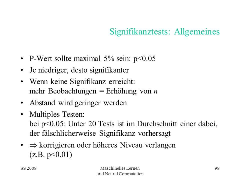 SS 2009Maschinelles Lernen und Neural Computation 99 Signifikanztests: Allgemeines P-Wert sollte maximal 5% sein: p<0.05 Je niedriger, desto signifika